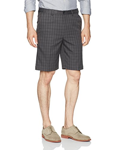 Haggar Men's Cool 18 Plaid Hidden Expandable Waist Short, Charcoal, 40