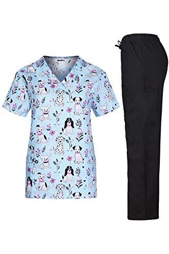 MedPro Women's Printed Medical Scrub Set V-Neck Top and Pants Blue S