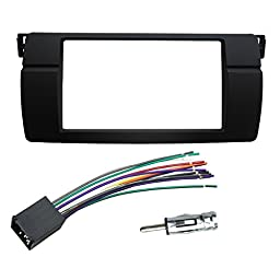 DKMUS Dash Installation Trim Kit for BMW 3 Series M3 E46 Facia Double Din Radio Stereo DVD with Wiring Harness Antenna Adapter 173x98mm Opening
