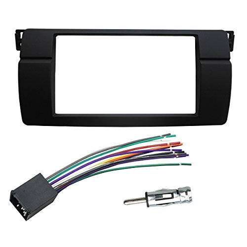 173 Adapter (DKMUS Dash Installation Trim Kit for BMW 3 Series M3 E46 Facia Double Din Radio Stereo DVD with Wiring Harness Antenna Adapter 173x98mm Opening)