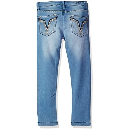 Vigoss Girls Knit Waist Denim Jean 6, Faded Blue