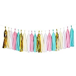Tissue Paper Tassel DIY Party Garland (20 Tassels Per Package) - 14 Inch Long Tassels (Mint-Pink-Ivory-White-Gold Mylar)