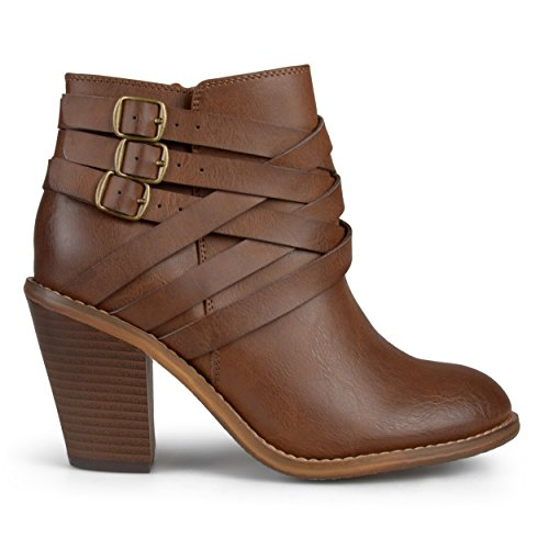 (Brinley Co Womens Ankle Multi Strap Boots Brown, 12 Wide Width US)