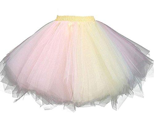 Facent Mujer Niña Cortas Tutu Falda Tul Enaguas para Disfraz Halloween Rosa/Amarillo