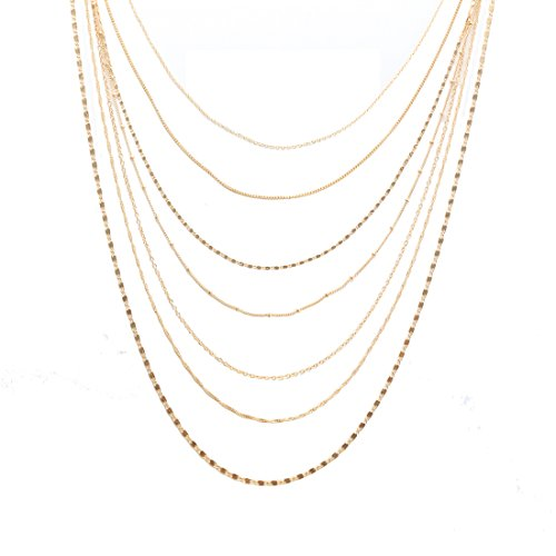 ELEARD Women Multi Chain Layered Necklace Waterfall Multi Strand Jewel Chain Tassel Necklace (Gold)