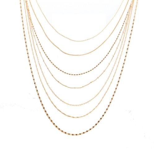 Multi Chain Necklace Earrings - ELEARD Women Multi Chain Layered Necklace Waterfall Multi Strand Jewel Chain Tassel Necklace (Gold)
