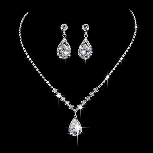 Unicra Bride Silver Necklace Earrings Set Crystal Bridal Wedding Jewelry Sets Rhinestone Choker Necklace for Women and Girls(3 piece set – 2 earrings and 1 necklace) (Silver 3)