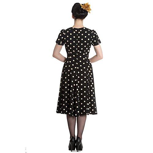 Retrokleid Kleid Madden Schwarz Hell beigen Dots Punkte Bunny Damen mit XHqaS