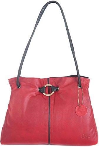 Bolso Hombro De Y 3 negro Vendidos Tonos Secciones Othello Rojo Medium Gigi Mano Dos marrón Oscuro Cuero Suave Miel 4323 x8qPv0nX