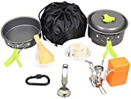 Goetland 16 Pcs Camping Cookware Set Mess Kit Backpacking Cookset Outdoor Hiking Picnic Non-Stick Cooking Anod