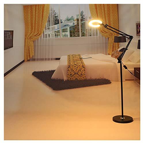 (ZGstore Floor Lamp, Clip Lamp, Desk Lamp, Standing Lamp Dimmable for Living Room Bedroom-LED Floor Light with Magnifying Glass-Full Spectrum Magnifier Lens-Adjustable Stand & Swivel Arm Light)