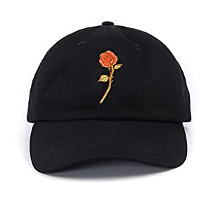 PT FASHIONS Rose Embroidered Women Dad Hat Adjustable Polo Style Low Profile Outdoor Snapback Baseball Cap Floral Cap