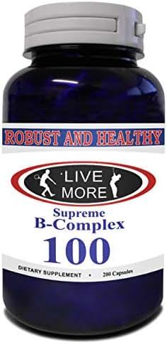 Robust & Healthy Supreme B Complex All B Vitamins B12 Cobalamin B1 Thiamin B2 Riboflavin B3 Niacin B5 Pantethine B6 Pyridoxine B7 Biotin B9 Folic Acid Healthy Metabolism & Immune System Made in USA