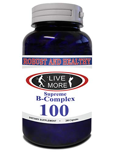 Robust & Healthy Supreme B Complex All B Vitamins B12 Cobalamin B1 Thiamin B2 Riboflavin B3 Niacin B5 Pantethine B6 Pyridoxine B7 Biotin B9 Folic Acid Healthy Metabolism & Immune System Made in USA
