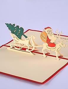 Ch&Ch 5pcs / set árbol de navidad del corte del laser 3d pop-up de papel hecho a mano tarjetas de felicitación de encargo del navidad regalos de