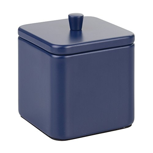 InterDesign Gia Bathroom Vanity Square Canister for Cotton Balls, Swabs, Cosmetic Pads - Matte Navy Blue - Navy Blue Cotton Balls