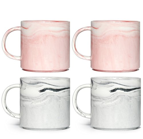 12 oz Stackable Coffee Mugs, Zocokey M101 Novelty Marble Ceramic Cup for Boy Girl lover, Set of 4, Gray & Pink