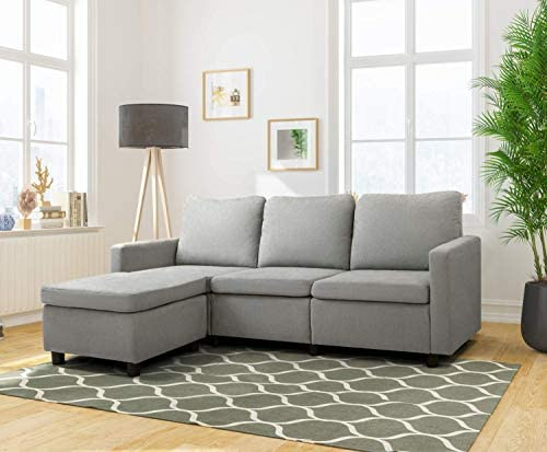 Flamaker Convertible Sectional Sofa L-Shaped Couch 3-seat Modern Fabric Reversible Sofa Couch
