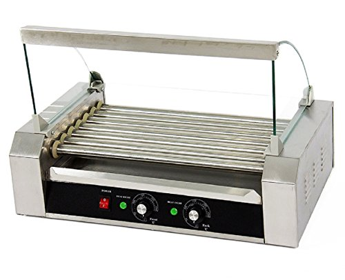 Portable 18 Hot Dog 7 Roller Grilling Machine Stainless Commercial W/ Cover New