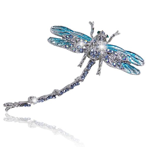 Gorgeous Dragonfly Pin - EVER FAITH Women's Austrian Crystal Enamel Gorgeous Dragonfly Insect Brooch Blue Silver-Tone