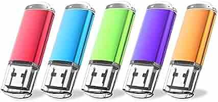 Flash Drive, wellsenn USB Drive 5 X 16 GB USB Flash Drive 16 gb Thumb Drive Memory Stick Swivel Keychain Design Mixcolor (16GB5) (mixcolor5)