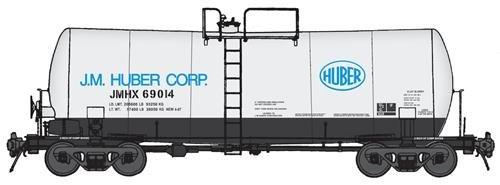 40' UTLX 16,000-Gallon Funnel-Flow Tank Car - Ready to Run -- J. M. Huber #69014 (white, black, - 16000 Gallon Run Funnel
