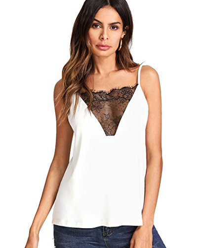 Lace Cami Top - Romwe Women's Lace Front Vest Blouse Shirt Backless Sexy Tank Top White M