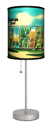 Travel - Kansas Postcard Sport Silver Lamp by Lamp-In-A-Box