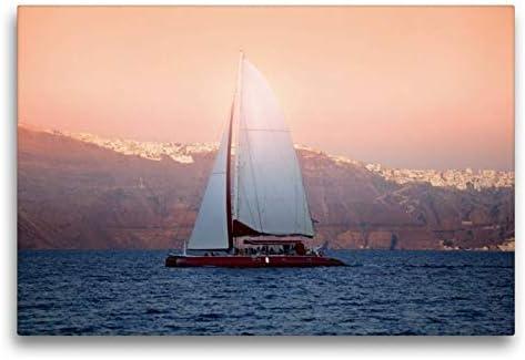 CALVENDO Premium Lienzo 75 cm x 50 cm Horizontal, Sunset Cruise, Imagen sobre Bastidor, Listo en Lienzo auténtico, impresión en Lienzo: Vela Antes de Santorini Orte Lugares