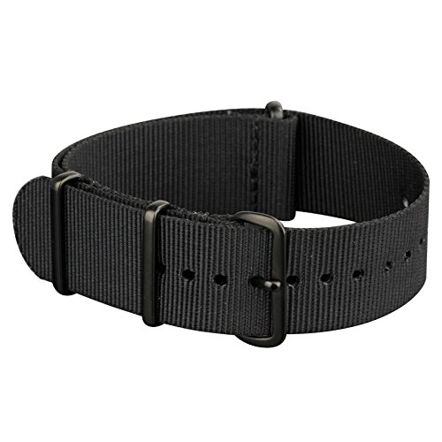 INFANTRY 20mm 22mm Nylon Nato Canvas Fabric Watch Band Strap, 4 Rings Stainless Steel Buckle, Black / Green
