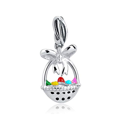 EVESCITY 925 Silver Easter Eggs Fruits Basket Beads for Charm Bracelets ♥ Best Jewelry Gifts for Holiday ♥