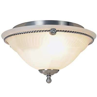Monument Lighting 617026 13-Inch D by 7 1/4-Inch H Torino Lighting Collection 2 Light Ceiling Flush Mount, Brushed Nickel