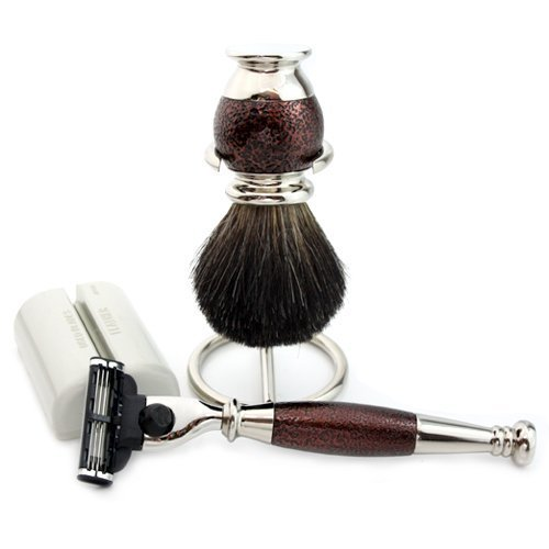 Maroon Antique 4 PCs Men's Shaving Set With Black Badger Hair Brush With Stand & Gillette Mach 3 Razor with Stand.