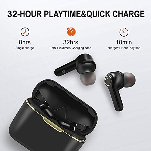 OKD True Wireless Earbuds|Bluetooth 5.0 Noise Cancelling Earbuds with Charging Case|Low Latency for Gaming|Waterproof TWS Wireless Earphones with Touch|Wireless Headphones with 2 Mics for Sport