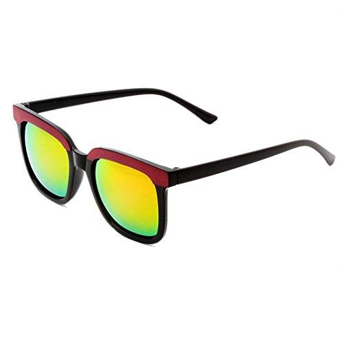 LXKMTYJ Personnalité ronde élégante Concept Rue Crapaud Lunettes Lunettes de pêche miroir lunettes noires avec chauffeur, Dark Red Pink Film de coupe