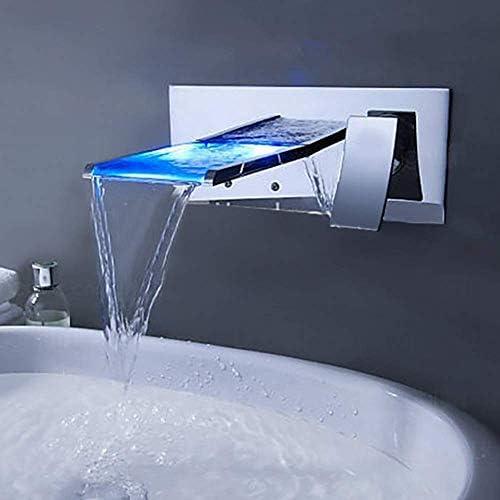 水タップ混合水蛇口Chromewall LED滝流域蛇口デュプレックスコールドベイスン実用的(色:シルバー、サイズ:120 * 200mm)キッチンバスルーム用品キッチンバスルーム用品