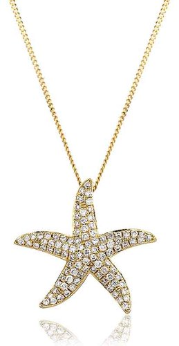 0.45CT Certified G/VS2 Pave Diamond Starfish Pendant in 18K Yellow Gold