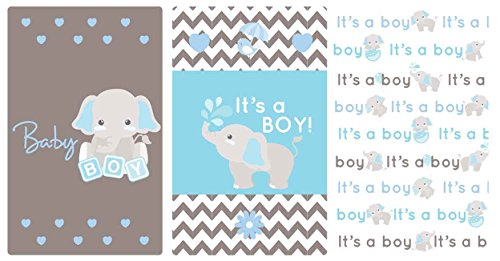 Light Blue & Gray Elephant Stickers Set of 54 Fits Miniatures Candy Bar (Baby Miniature Wrappers Candy Shower)