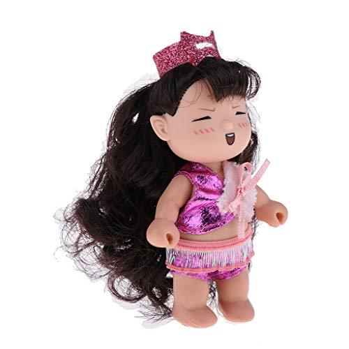 (NATFUR Mini Soft Plastic Girl Dolls Dollhouse Figures Toy Keychain Pendants Baby)