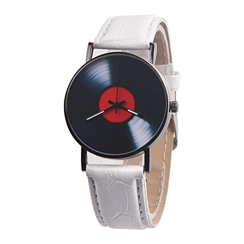 Wintefei Retro Vinyl Record Dial Faux Leather Men Women Analog Quartz Wrist Watch Gift - White (Leather White Quartz)