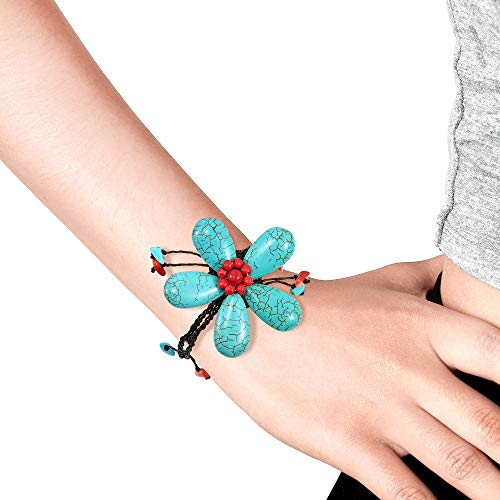 AeraVida Handmade Simulated Turquoise & Reconstructed Red Coral Large Flower Organic Bracelet by AeraVida (Image #4)