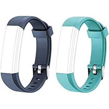 COOLEAD ID115U Replacement Bands - Adjustable Replacement Straps for Activity Tracker ID115U, ID115UHR, 2 Pack (blue+green)