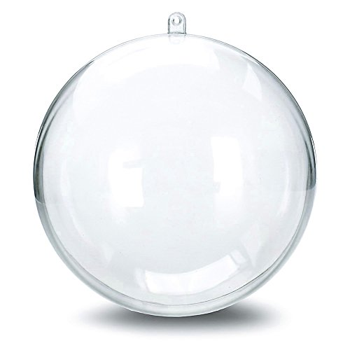 10 Pieces of Transparent Plastic Filled Round Ball Ornaments Christmas Birthday Wedding Party Decorations (80mm) (Round)