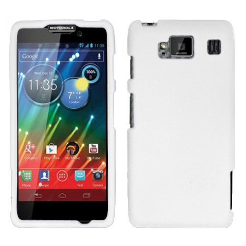 White Rubber Hard Rubberized Case Cover For Motorola Droid Razr Maxx Max Hd Razor 926M with Free Pouch (Razor Case White Cell Phone)