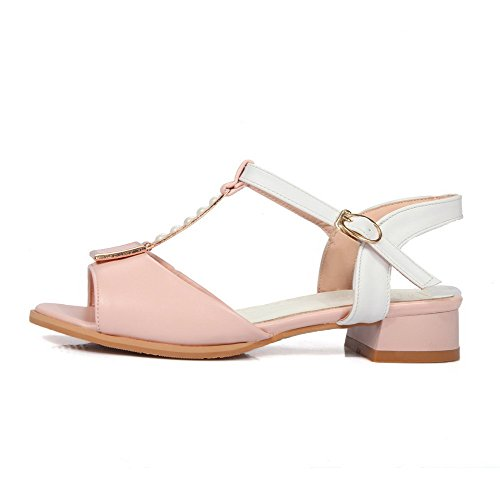 AmoonyFashion Womens Buckle Open Toe Low heels PU Assorted Color Sandals Pink lCFJRy964K