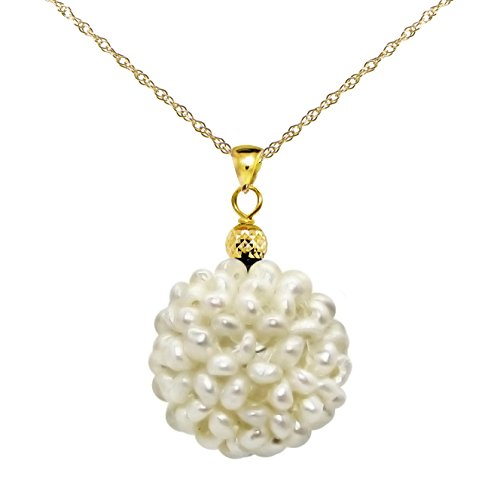 14k Yellow Gold Snowball Design with Pyramid Bead 18-19mm White Freshwater Pearl Pendant 18