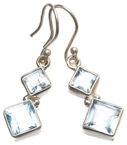 Natural Blue Topaz Handmade Vintage 925 Sterling Silver Earrings 1 1/2