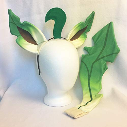 Leafeon Cosplay Ears, Tail Pokemon Cosplay Leafeon Costume by Panda Kitty Studios
