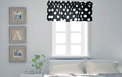 (Crabtree Collection Curtain Valance for Windows Classic Black Polka Dot (16 x 60) ...)