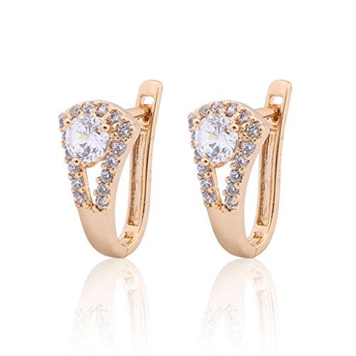 GULICX Cubic Zirconia Art Deco Round Pierced Huggie Earrings Hoop Clear Gold Plated Brass